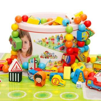 82pcs Wooden Building Blocks Car Shape Beads DIY Wood Toys Traffic scene blocks Childrens Jewelery Making Utilities toys
