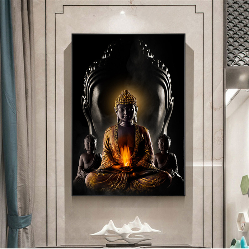 US $10.10 10% OFFGod Buddha Wall Art Canvas Paintings Modern Buddha Canvas  Art Wall Poctures Buddhism Poster Wall Decor for Living RoomPainting &