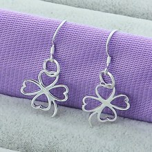 Four Leaf Clover Lucky Drop Earrings 925 Silver Color Fashion Charm Female Silver Flower Butterfly Earring  Jewelry Wholesale
