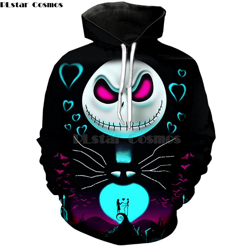 2020 Plus Size XS-7XL Men Women Hoodies Outerwear Halloween Gift Nightmare Before Christmas Jack 3D Print Crewneck Sweatshirt