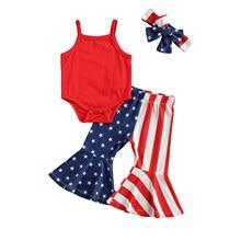 Летняя одежда для маленьких девочек Citgeett на День независимости однотонный красный комбинезон на бретельках + широкие брюки в полоску со зве...