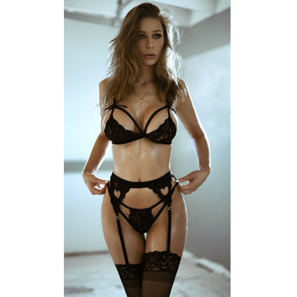 3pcs Women Sexy  Set Lace Garter Stocking Clip Exotic Bandage Nightwear Sheer Underwear G-string Transparent Babydolls