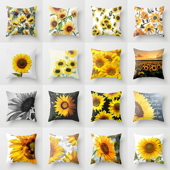 2020 Sunflower Plant Pattern Cushion covers Home Decorative Nordic Throw Pillow Case Peach skin Fabric For Sofa Car Pillowcover image