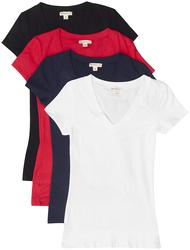 2019 TL camisetas cómodas básicas de algodón de manga corta con cuello en V, paquete de 4-bk/Wh/Nv/rojo, pequeño