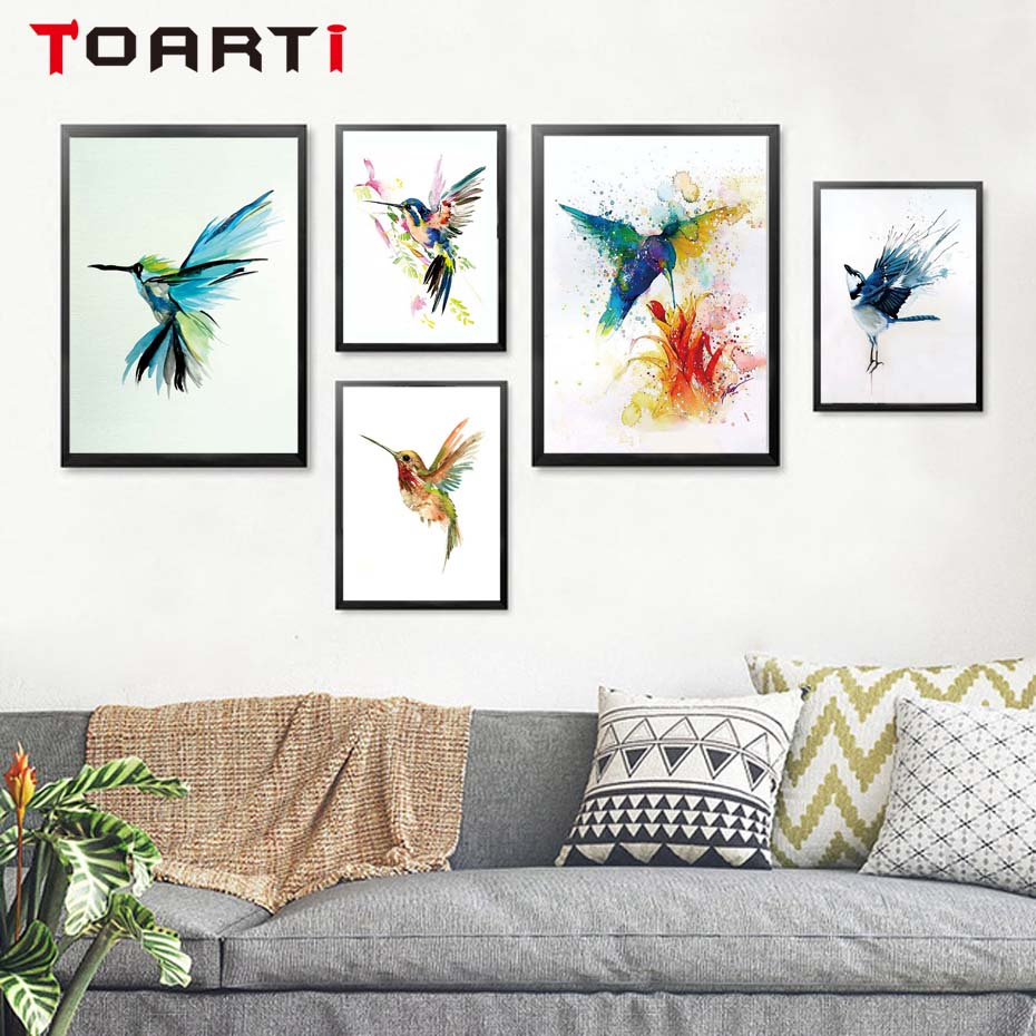 Watercolor Animal color Birds Poster&print,nordic Canvas Painting modular Wall Picture living room decor Modern wall art murals