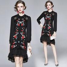 Zuoman осенние Роскошные вышивка кружевное платье праздничное