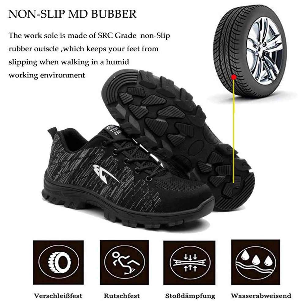 Dropshipping delinme geçirmez güvenlik ayakkabıları yıkılmaz kaymaz çelik ayak iş ayakkabısı açık nefes erkek ayakkabısı