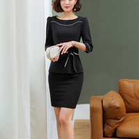 Slim Solid Tops Pencil Mini Skirt Two Piece Set Office Lady Women Egelant Formal Wear Outfits Work Office Skirt Suit