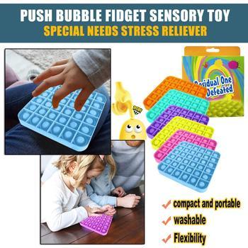 Bąbelki z zabawkami które łagodzą stres i uwalniają emocje fajna zabawka Push Bubble Fidget zabawka sensoryczna autyzm specjalne potrzeby Stress Reliever tanie i dobre opinie CN (pochodzenie) Bubble board Europa certyfikat (CE) 8 ~ 13 Lat 14 lat i więcej 2-4 lat 5-7 lat Dorośli Zawodów Silicone