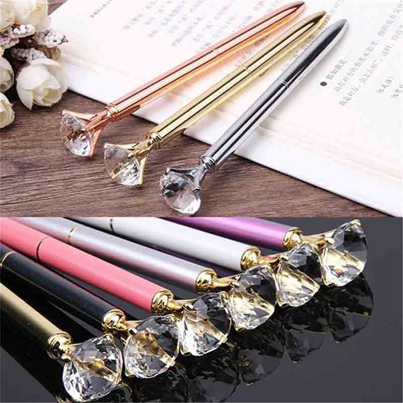 40 pièces métal cristal stylo diamant gaufrette stylo à bille 1.0Mm bleu écriture stylo étudiant école cadeau stylo à bille