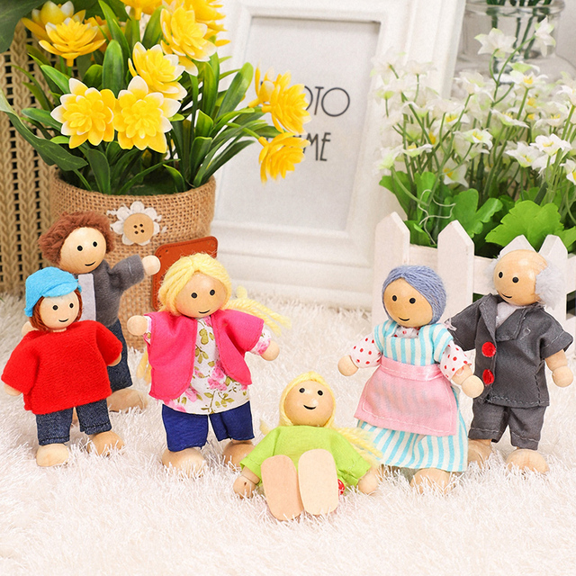 Happy Family Dolls Set Miniature 6 People Wooden Jointed Dolls Muppet Kids Pretend Play Play House Toys Dressed Characters Gifts 2