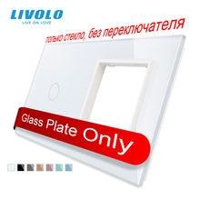 Livolo luxo branco pérola cristal de vidro, 151mm * 80mm, padrão da ue, 1gang & 1 quadro painel de vidro, VL-C7-C1/SR-11 (4 cores)