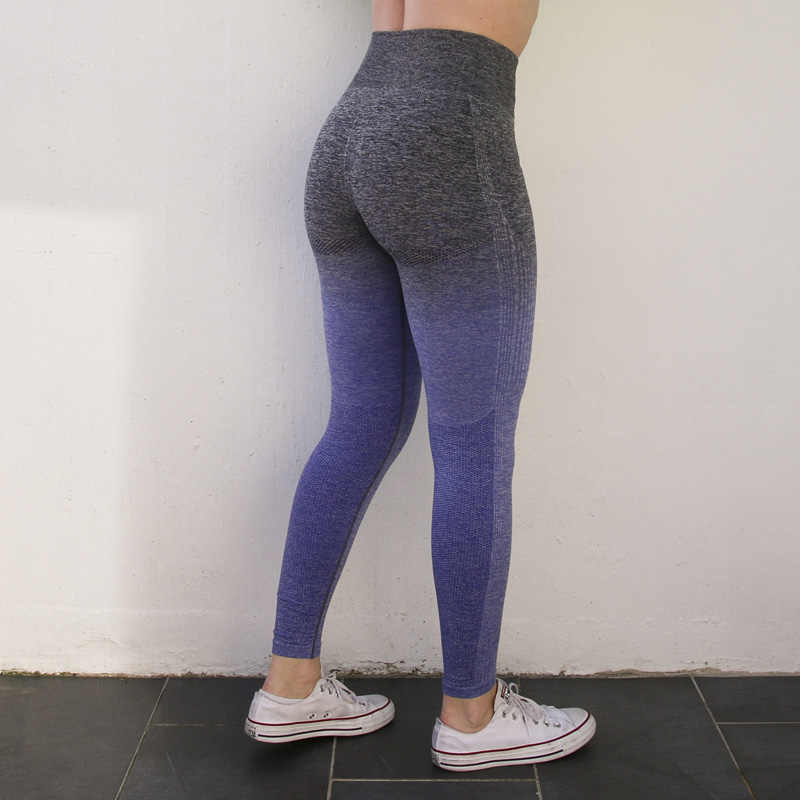 Nepoagym Vrouwen Ombre Naadloze Leggings In Teal Hoge Taille Yoga Broek Vrouw Sport Leggings Training Panty Gym Fitness Leggings