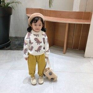 Image 4 - 2019 Mùa Thu Đông Mới Xuất Hiện Phong Cách Hàn Quốc Cotton Họa Tiết Khủng Long Tất Cả Trận Đấu Dày Cổ Áo Len Cho Ngọt Cho Bé bé Gái