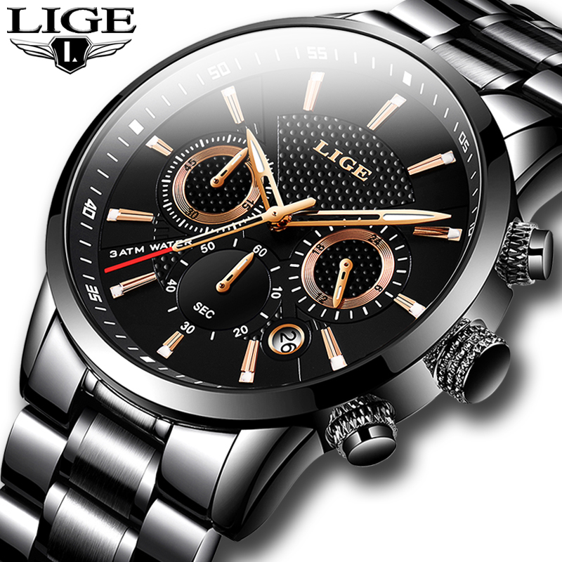 LIGE Mens Watches Top Luxury Brand Business Quartz Watch Men Military Sports Waterproof Dress Wristwatch Black Relogio Masculino