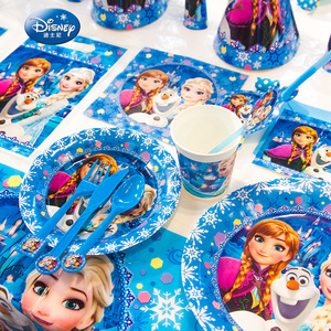 Image 4 - Disney 71pcs Frozen Princess Snow Queen Theme Happy Birthday Party Decorations Kids Girl Party Supplies Decor Tableware Set