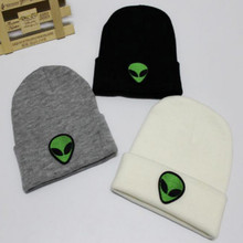 Embroidery Green Alien Winter Hat For Women Hip Hop Knitted Cartoon Skullies