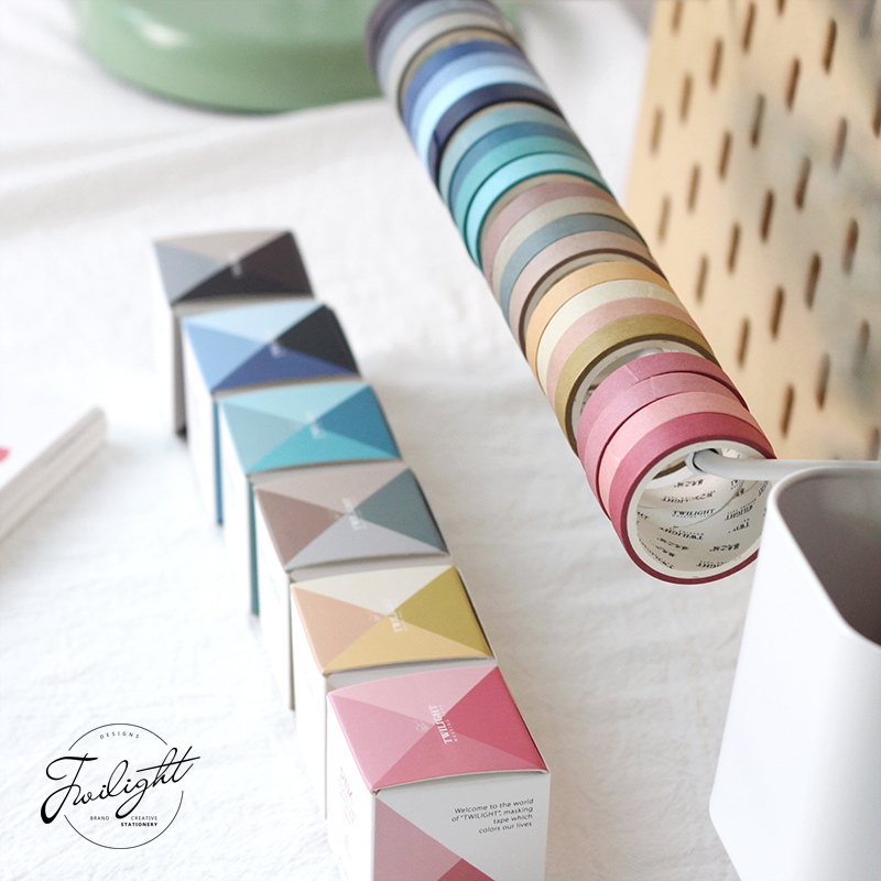 Color Love Series Washi Masking Tape Sticky Decorative Paper Tape Set DIY Decoration Office Stationery Scrapbook 4PCS/bag