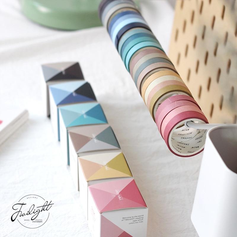 Color Love Series Washi Masking Tape Sticky Decorative Paper Tape Set DIY Decoration Office Stationery Scrapbook 4PCS/bag