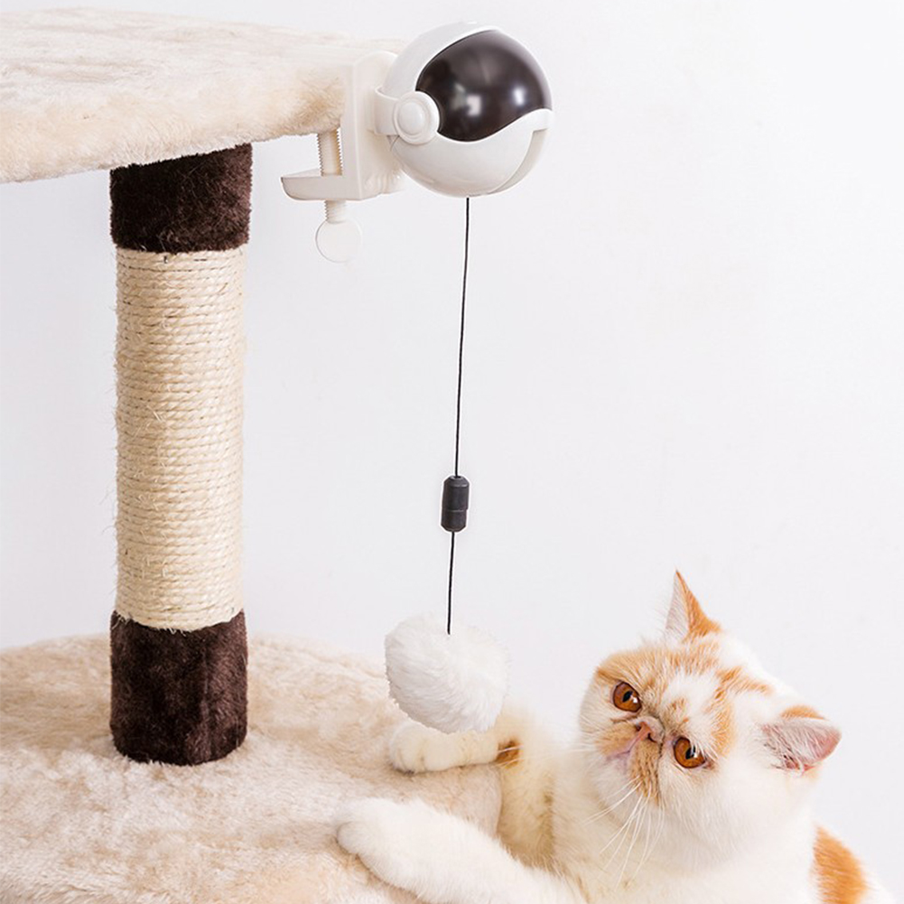 Practical With Ball Retractable Rope ABS Electric Cat Toy Interactive Automatic Lifting Funny Exercise Training Flutter Rotating