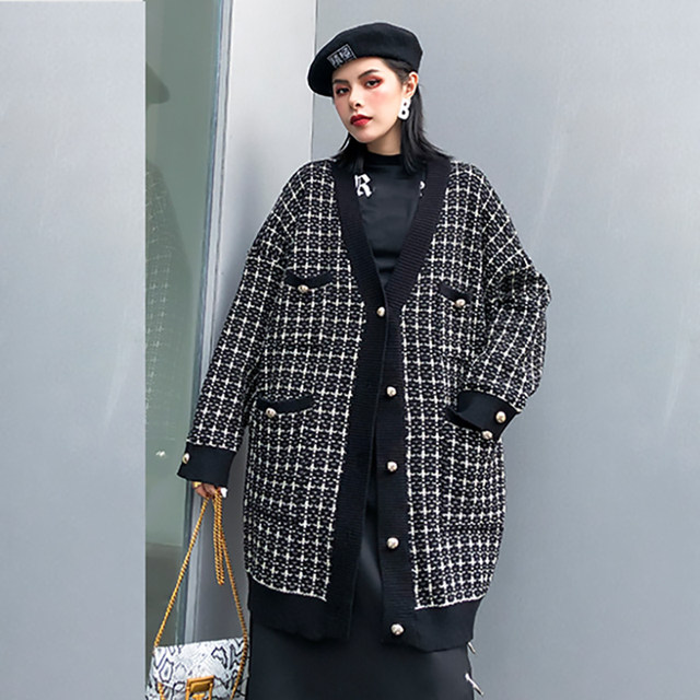 [EAM] black plaid big size Knitting Cardigan Sweater Loose Fit V-Neck Long Sleeve Women New Fashion Autumn Winter 2019 1K356 30