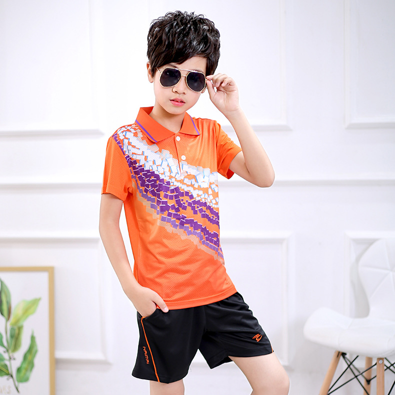 AliExpress Short Sleeve Fold-down Collar Table Tennis Wear Set Men And Women Childrenswear Quick-Dry Children Badminton Sports C