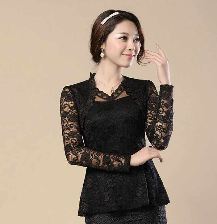 blusa de renda 4XL large size Women clothing Vintage ruffles Lace Tops Floral Gothic shirt Sexy Ladies Long sleeve blouse CJ421