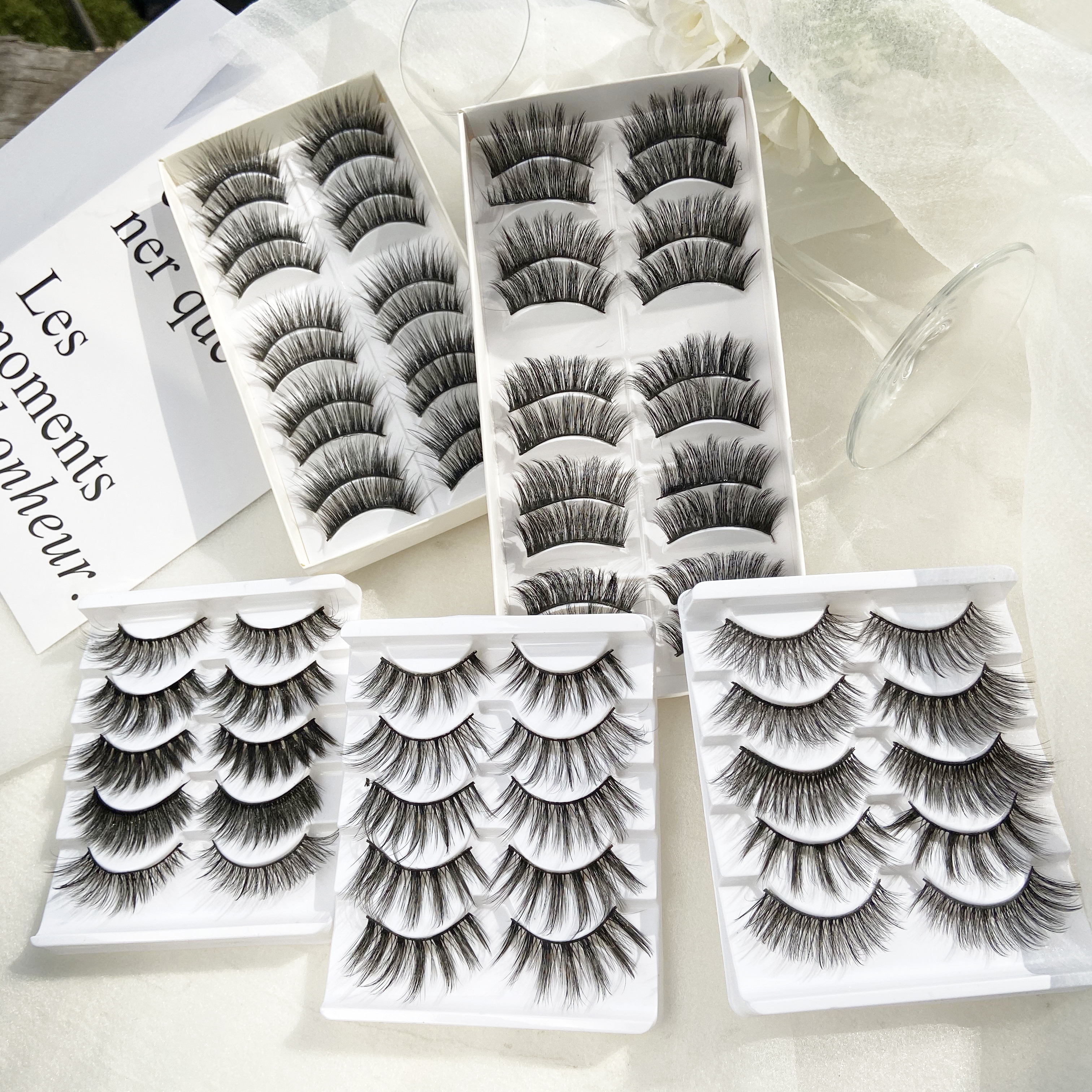 5/10 Pairs Thick 3D Mink Eye Lashes For Woman Drop Shipping Black 15-25mm Long Eyelash Cheap False Eyelashes 2020 New Lashes