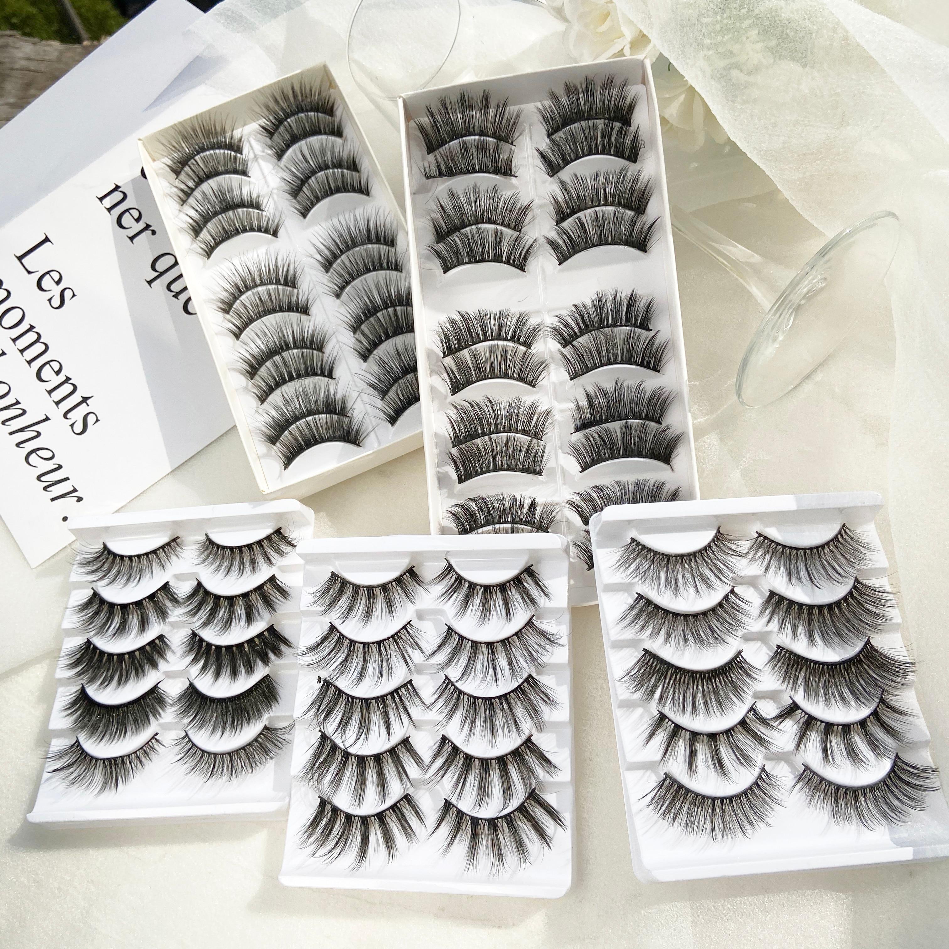 5/10 Pairs Thick 3D Mink Eye Lashes For Woman Drop Shipping Black 15-25mm Long Eyelash Cheap False Eyelashes 2020 New Lashes