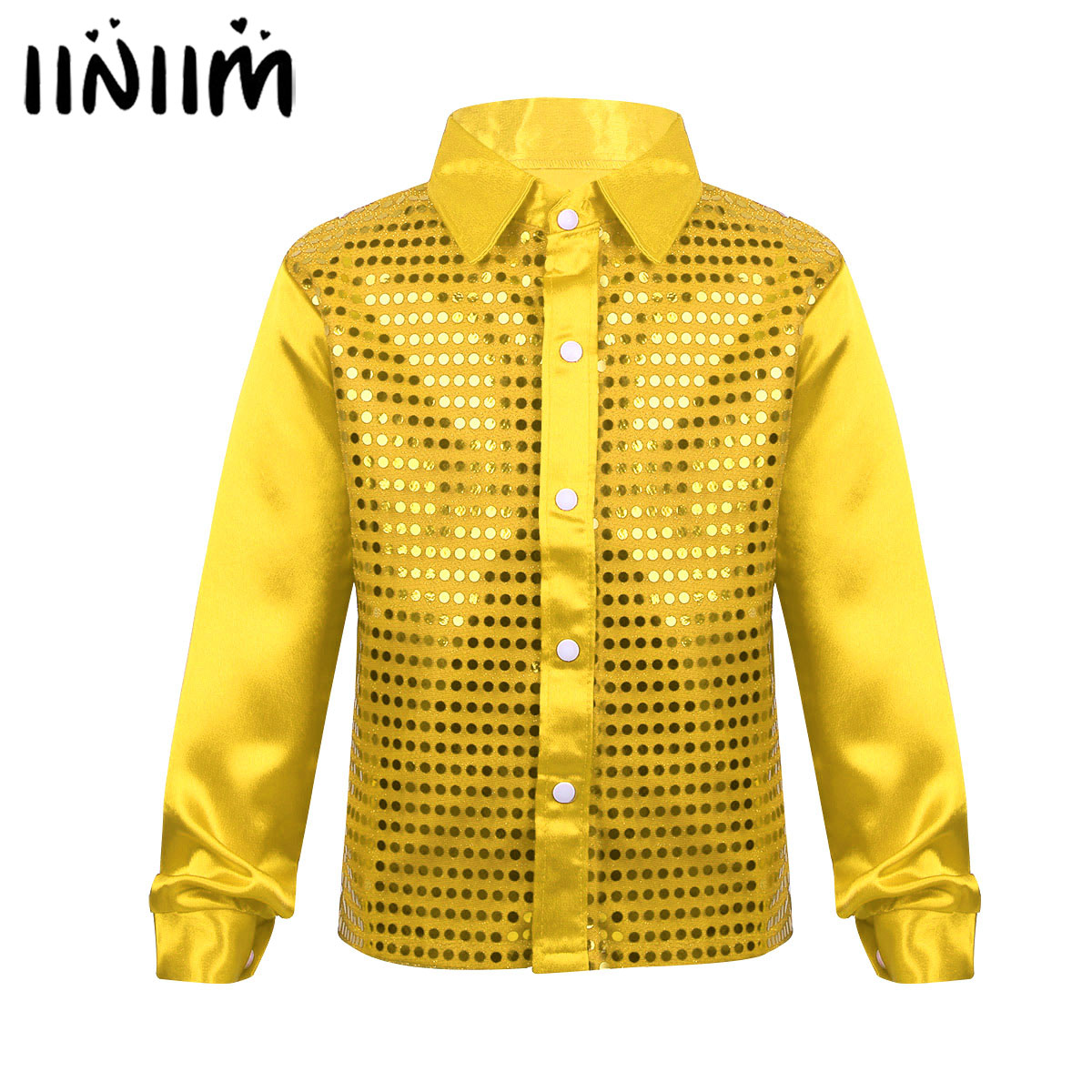 Iiniim Kids Boys Jazz Glittery Sequined Performance Dance Wear Spread Collar Shirt For Choir Jazz Latin Lyrical Dance Costumes