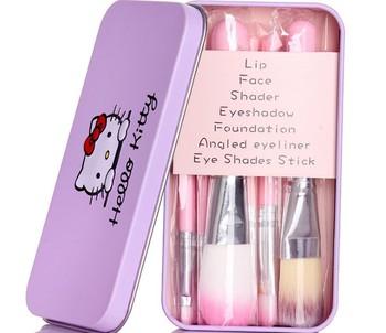 7 Pieces/Set Metal Box Advanced Makeup Brush Set Blush Lip Makeup Eye Shadow Powder Tight Shadow Makeup Set Brush Mix Brush недорого