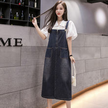 Женское джинсовое платье на бретельках без рукавов