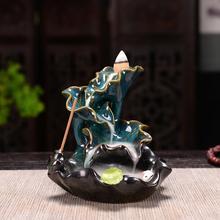 Lotus Ceramic Censer Buddhist Decor Leaf Backflow Incense Burner Cone Sticks Holder Smoke Waterfall