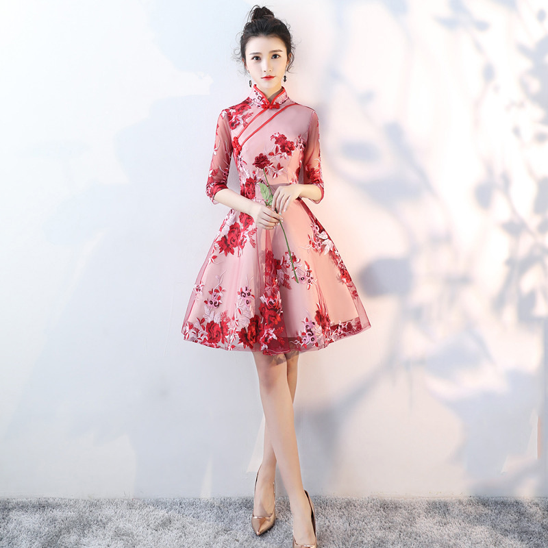 Hot Sale Handmade Button Qipao Embroidery  Improved Cheongsam Wedding Party Dress Prom Gown  Vestidos