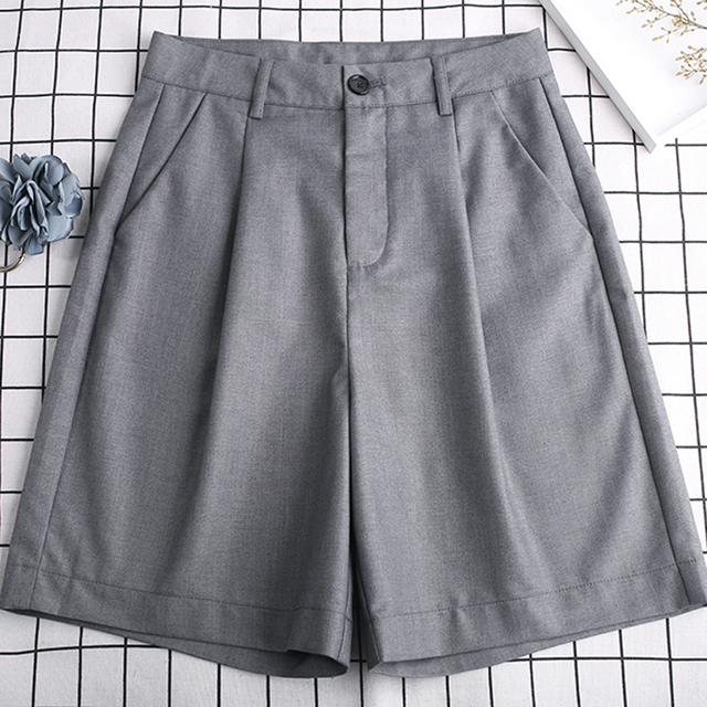S-3XL Suits Shorts Female Harajuku High Waist Short Pants Straight Vintage Women Shorts 2020 Loose Casual Black Shorts Plus Size 3
