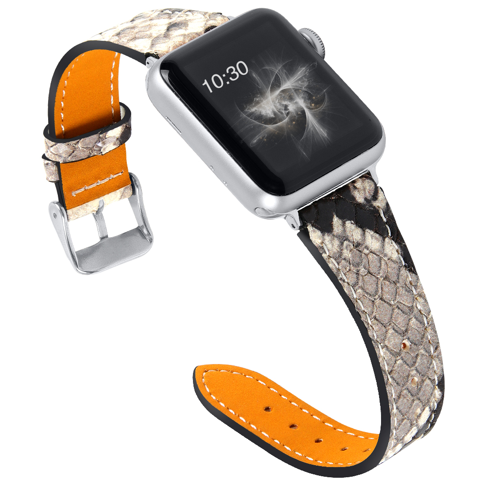 Joyozy Genuine Leather For Apple Watch Band 38mm/40mm/42 Mm/44 Mm  Snakeskin Watch Band Series 5/4/3/2/1 For I Watch Strap