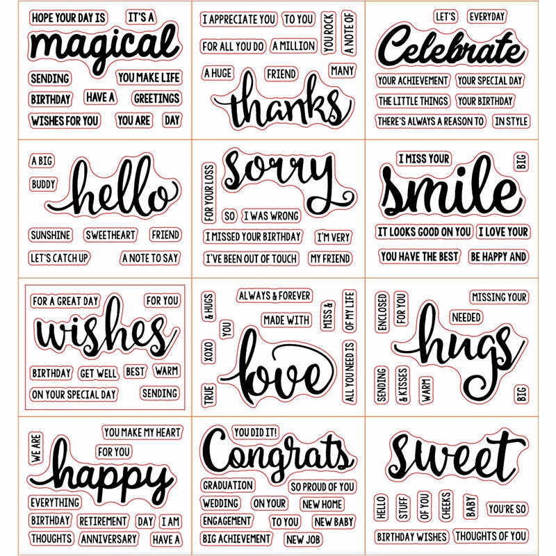 """Congrats"" ""Sweet"" ""Love"" Words Clear Silicone Stamp for Scrapbooking DIY Album Decorative Card Making Template 3x4inch New 2019"