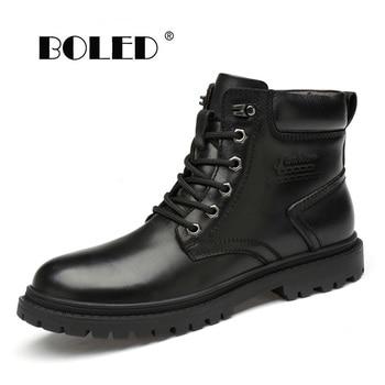 Full Grain Leather Winter Men Boots Handmade Warm Plush Snow Boots Top Quality Non-slip Waterproof Autumn Winter Shoes Men