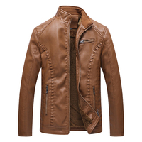 Men's Witer Casual Jackets Male Warm PU Leather Jacke With Pockets Fashion Long Sleeve Solid Color Zipper Coat Outerwear