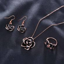 Hot Black Rose Flower Enamel Jewelry Set Gold Color Earrings Necklace Rings Bridal Sets for Women Wedding