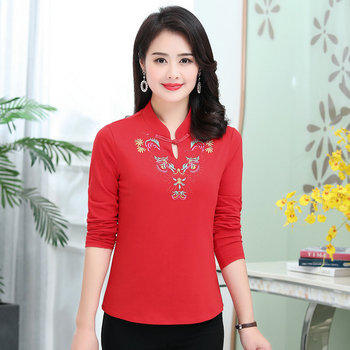 Woman Oriental Blouse Red Black Green Flower Embroidery Chinese Button Mandarin Collar Blouses Women Vintage Design Top Spring