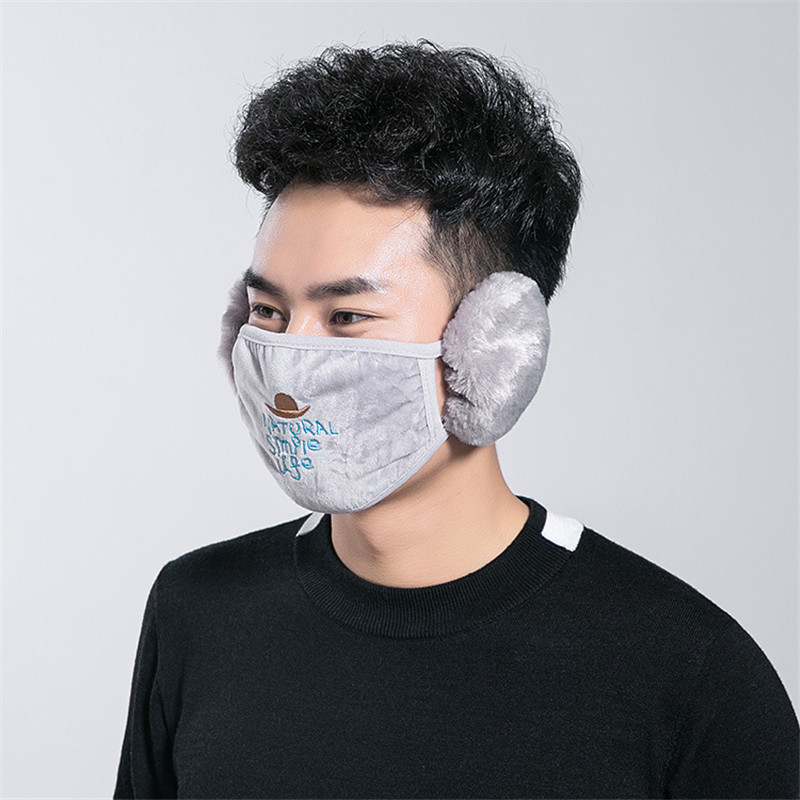 Fashion Dust-proof Mouth Plush Face Masks Student Men Winter Daily Outdoor Sport Letter Two In One Mouth Mask Earmuffs Teenager