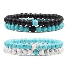 Дистанционный браслет для женщин браслет для пары классический 6 мм натуральный черный матовый голубой бирюзовый камень в виде бисера мужские украшения-браслеты