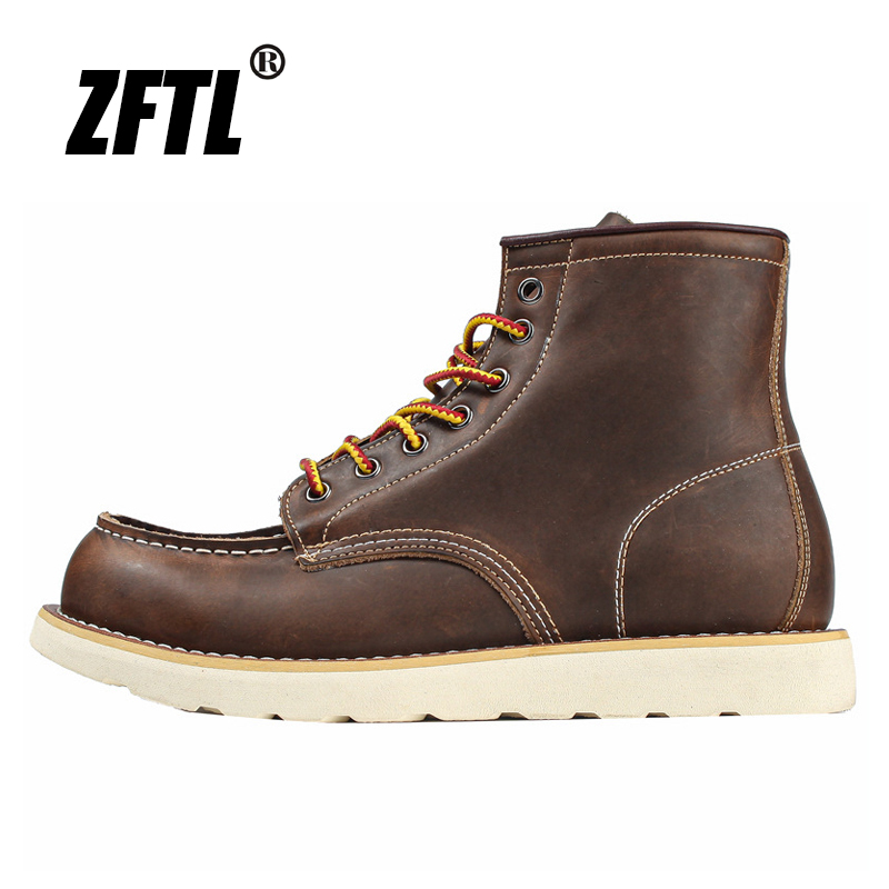 ZFTL Men's Martins Boots American retro tooling boots Casual Crazy Horse Leather Men's Boots Vintage Man Lace up Ankle Boots