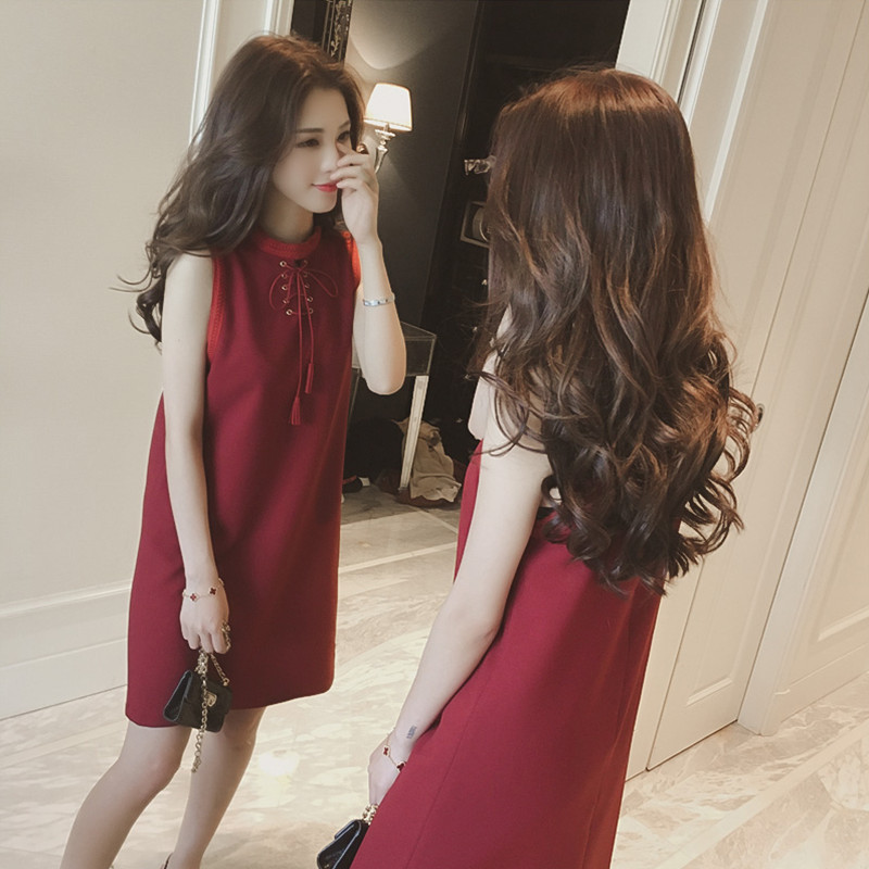 2019 Korean-style Fashion Elegant Bow Sleeveless Straight-Cut Red Dress Women's Mid-length Base A- Line Skirt Summer
