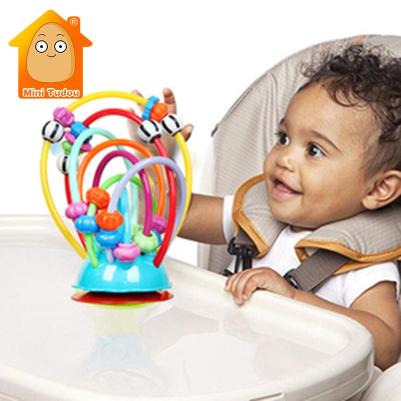 Soft Silicone Baby Rattle Beads Toy Table Sucker Rattles Infant Dining Chair Suction Rattles Stroller Handheld Suction Cups Toys