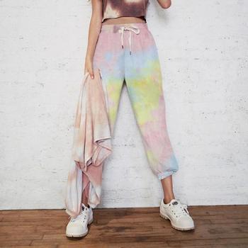 Damskie 2020 modne modne Tie-Dye aktywne w pasie workowate spodnie dresowe Outdoor bieganie kieszonkowe spodnie codzienne tanie i dobre opinie Srogem Poliester Kostki długości spodnie J0717 Stałe Na co dzień Hip hop spodnie Mieszkanie Luźne Osób w wieku 18-35 lat