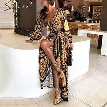 Simplee, vestido largo Vintage con estampado floral para mujer, verano Sexy, manga larga, vestido maxi de palacio paisley 2019, Túnica Boho, vestido de fiesta para club