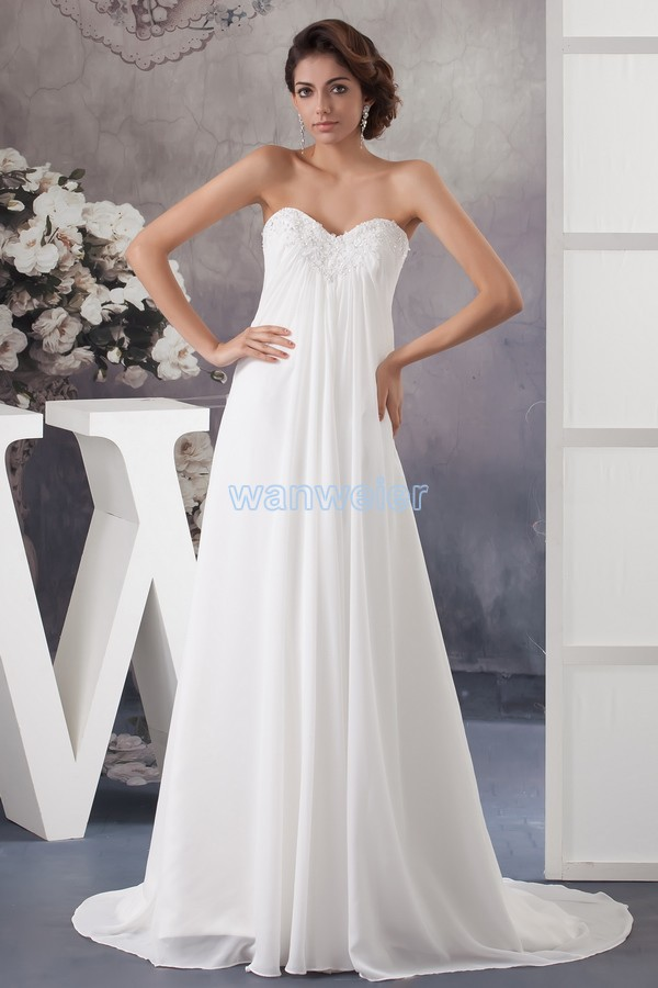 Free Shipping 2016 New Design Formal Gown Floor-length Appliques Small Train Custom Size/color White Chiffon Bridesmaid Dress