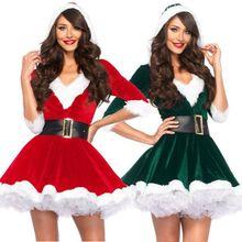 Модный женский Одноцветный популярный Рождественский костюм Санта-Клауса с коротким рукавом, костюм для косплея, нарядное рождественское мини-платье с поясом